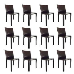 Set of 12 Mario Bellini Cab Leather Chairs