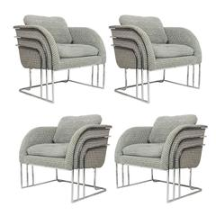 Set of Four Chrome Deco Chairs by Milo Baughman