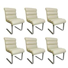 Set of Six Chrome Cantilever Pace Dining Chairs