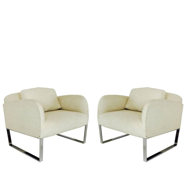 Pair of donghia deco style lounge chairs for sale at 1stdibs - Lounge deco ...