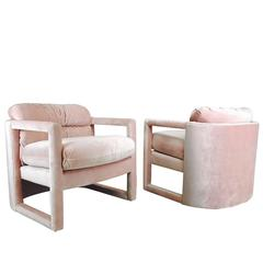 Pair of Drexel Parson Style Lounge Chairs in Pink Velvet