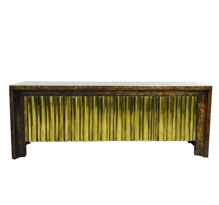 Rare Brass Front Burl Wood Credenza by Mastercraft