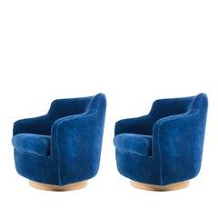 Pair of Milo Baughman Swivel Chairs in Navy Blue Velvet