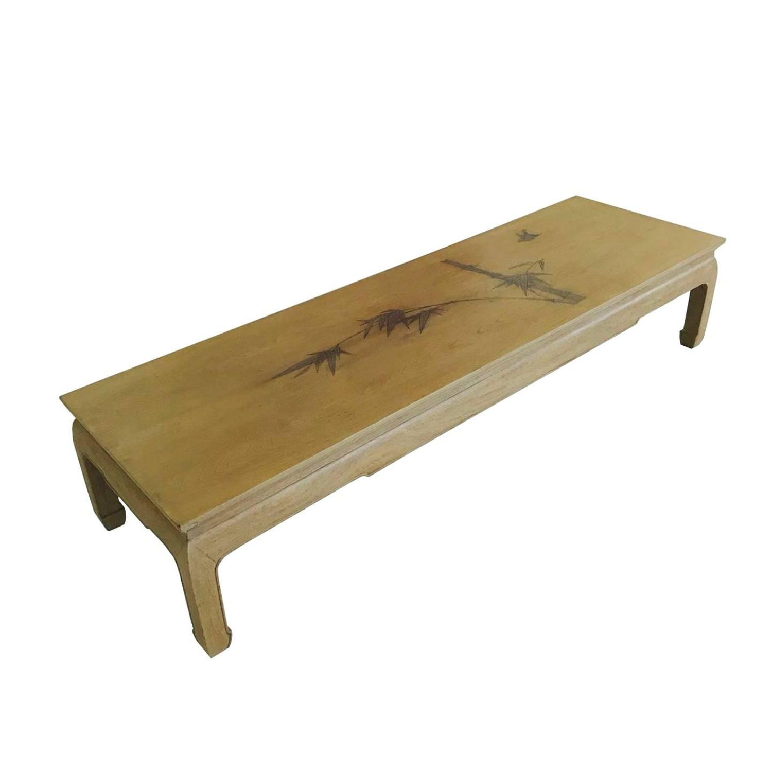 Bleached Mahogany Ming Coffee Table with Inlaid Bamboo Leaf Design