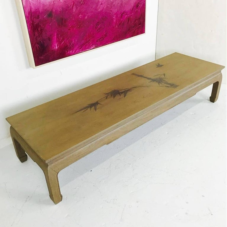 Bleached Mahogany Ming Coffee Table With Inlaid Bamboo Leaf Design For Sale At 1stdibs