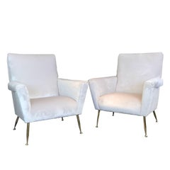Pair of Vintage Italian Lounge Chairs with Brass Legs