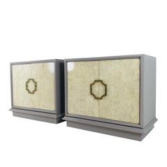 Pair of Mastercraft Bachelor Burl and Lacquer Cabinets