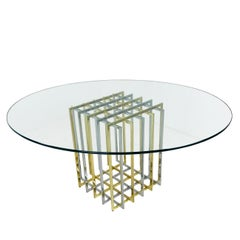 Oval Glass Top Pierre Cardin Brass and Chrome Grid Table
