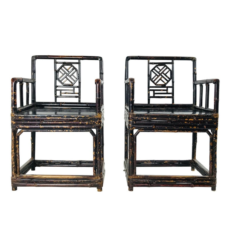 Pair of Bamboo Rattan Chinoiserie Armchairs by Brighton Pavillion