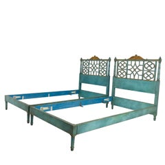 Pair of Twin Chinoiserie Pagoda Beds by Kittinger