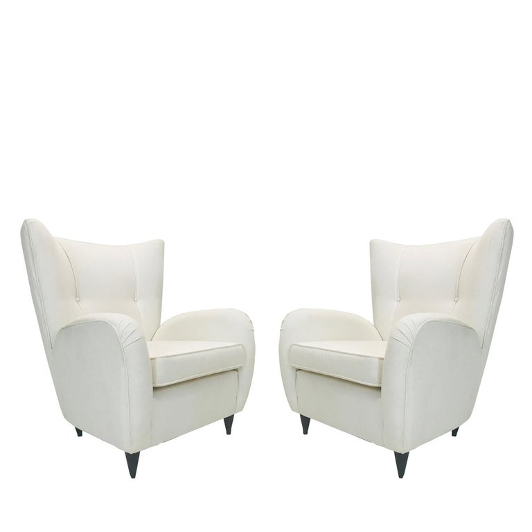 Pair of White Italian Paolo Buffa Lounge Chairs