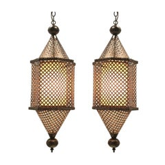 Pair of Pierced Brass Moroccan Pendants
