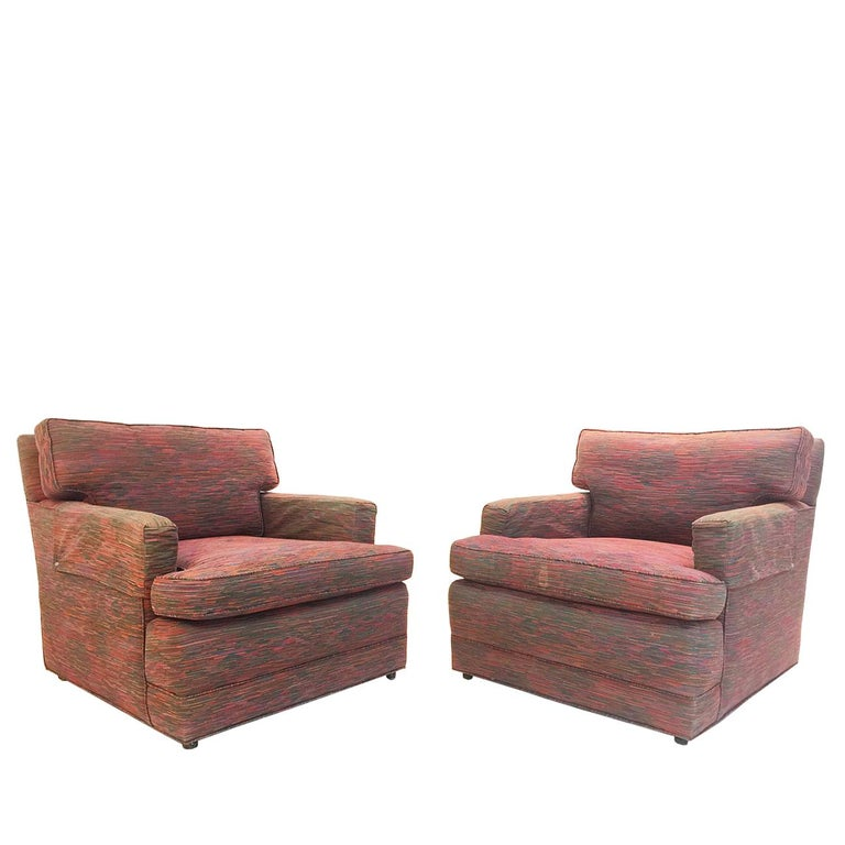Pair of Red Stripe Cube Lounge Chairs and Ottomans by Baker