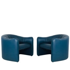 Pair of Blue Leather Metro Lounge Chairs