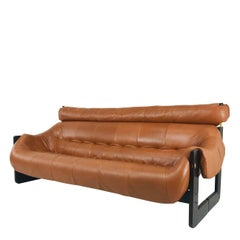 Percival Lafer Leather and Wood Sofa