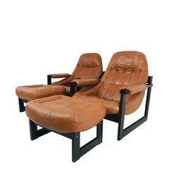 Pair Percival Lafer Leather and Wood Lounge Chairs and Ottomans