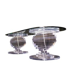 Double Spiral Lucite Pedestal Coffee Table with Glass Top