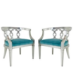 Hollywood Regency Sliver Leaf Barrel Back Armchairs with Turquoise Velvet, Pair