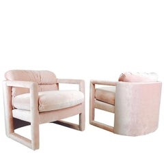 Pair of Drexel Parson Style Lounge Chairs in the Style of Milo Baughman