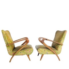 Sculptural Pair of Italian Paolo Buffa Lounge Chairs