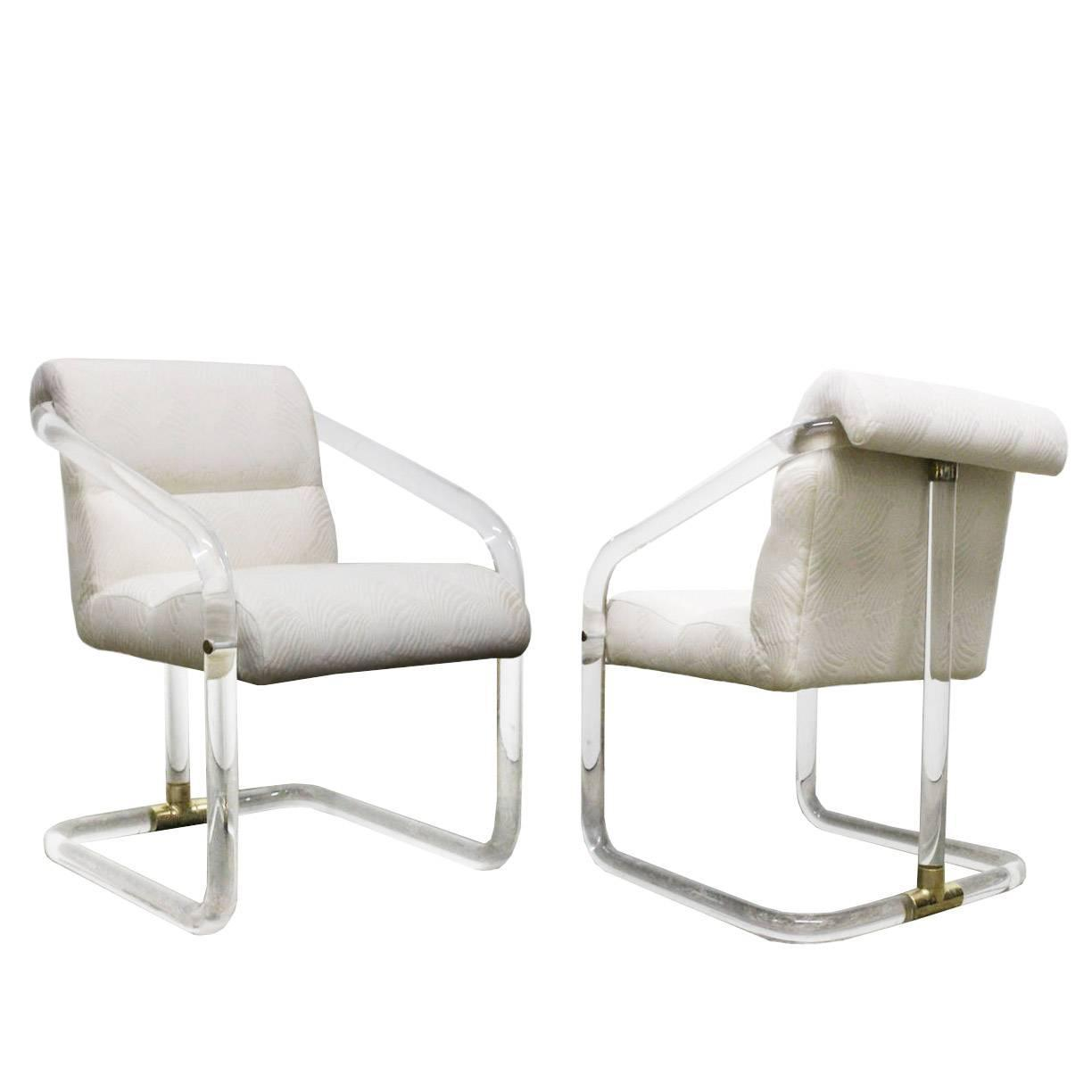 Pair Lion In Frost Lucite And Brass Dining Chairs At 1stdibs