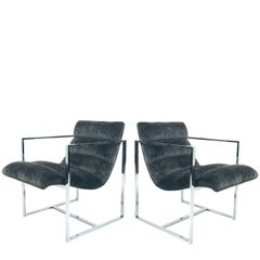 Pair of Chrome Cube Scoop Chairs by Milo Baughman