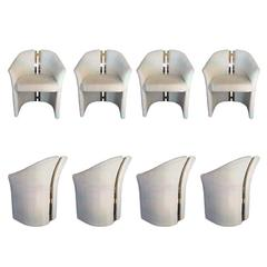 Set of Eight Glamorous Brass Spine Dining Chairs