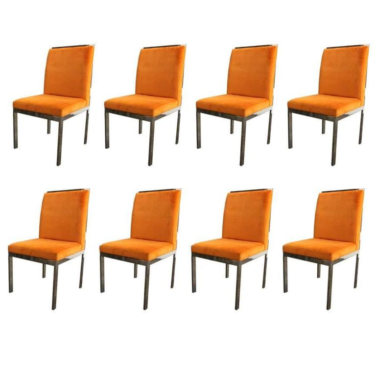 Set of Eight Chrome Dining Chairs by DIA For Sale at 1stdibs