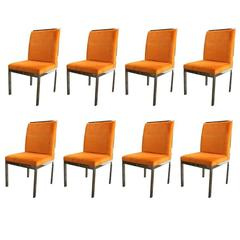 Set of Eight Chrome Dining Chairs by DIA