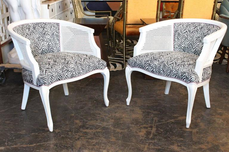 Pair Of Newly Lacquered And Upholstered Cane Barrel Chairs. Upholstered In  Fun Zebra Fabric With