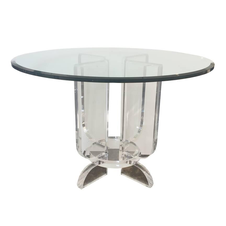 Lucite and glass round dining table at 1stdibs for Round glass dining table