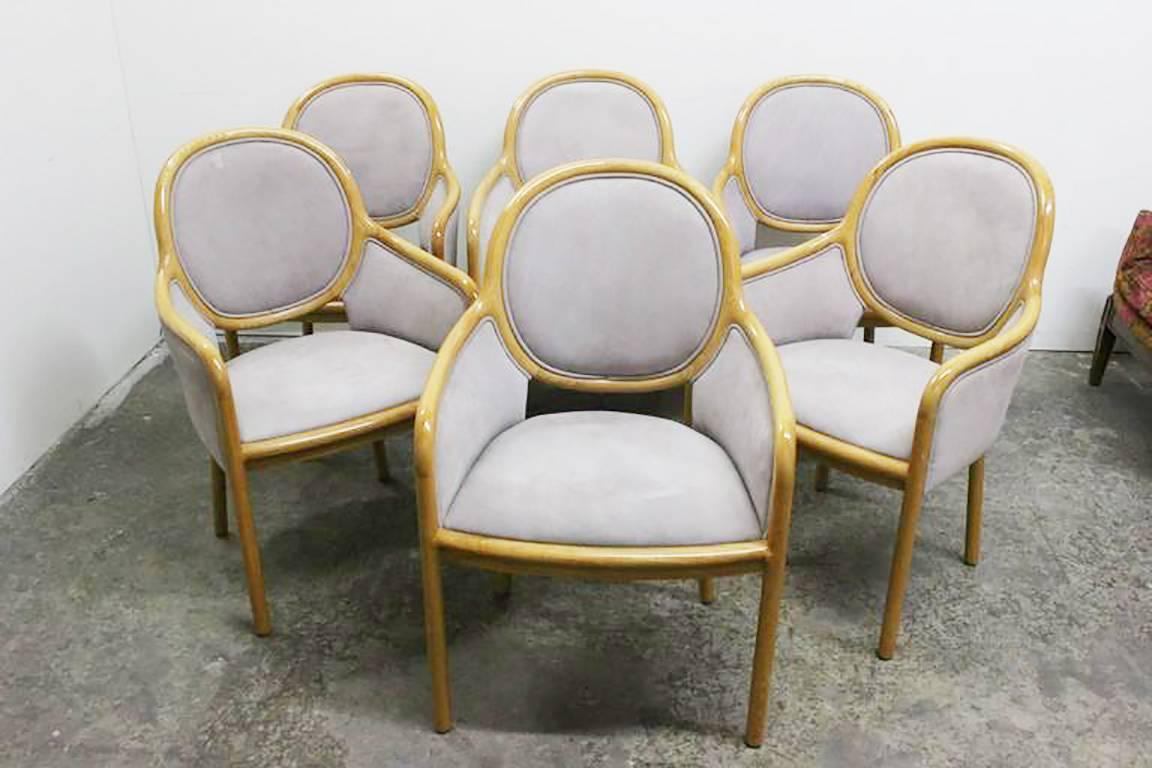 set of six pigskin suede dining chairs by ward bennett for