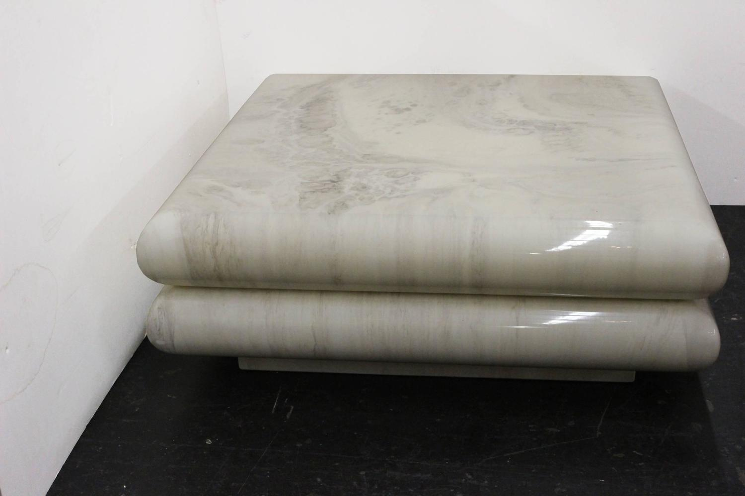 Faux Marble Coffee Table By Directional At 1stdibs