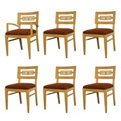 Set of Six Greek Key Dining Chairs in Oak
