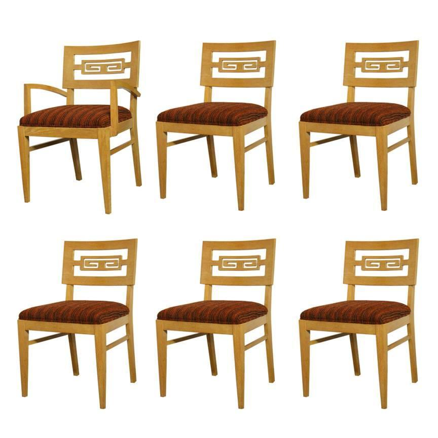Set of six greek key dining chairs in oak for sale at stdibs