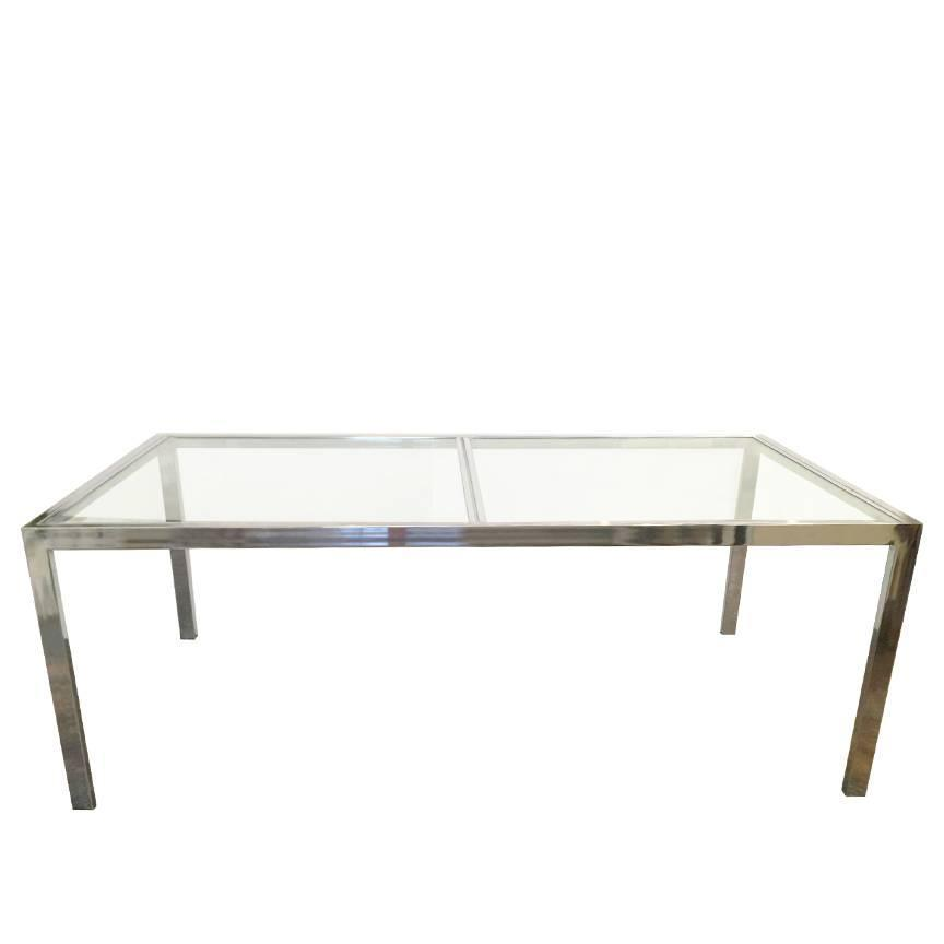 Chrome And Glass Parson Dining Table By DIA At 1stdibs