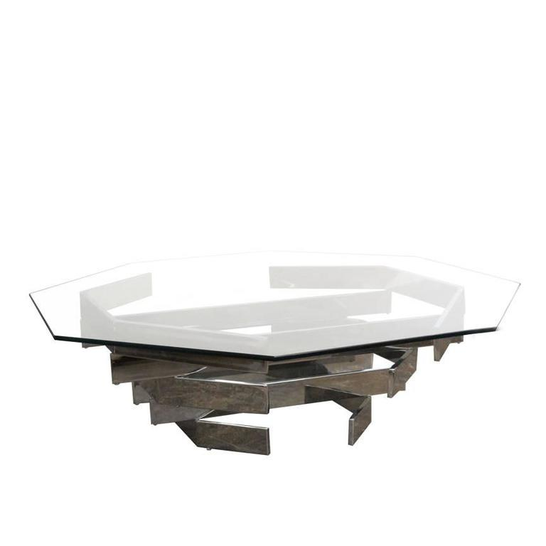 1970s sculptural chrome and glass coffee table by paul for Coffee tables habitat