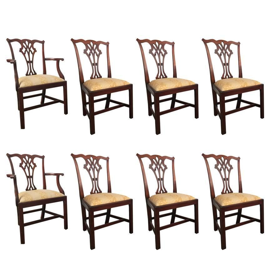 Set of eight chippendale dining chairs at 1stdibs for Dining room 8 chairs