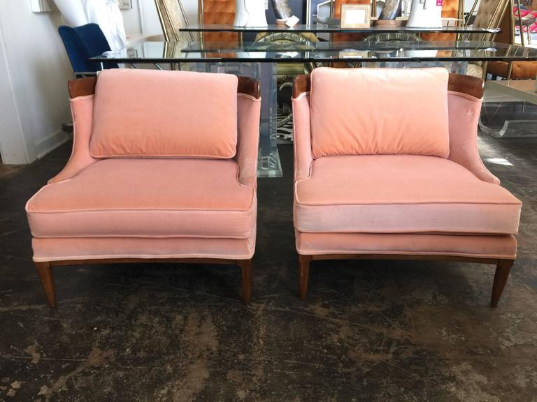 Pair of Tomlinson slipper chairs by Erwin Lambeth. Upholstered in a soft peachy pink velvet.