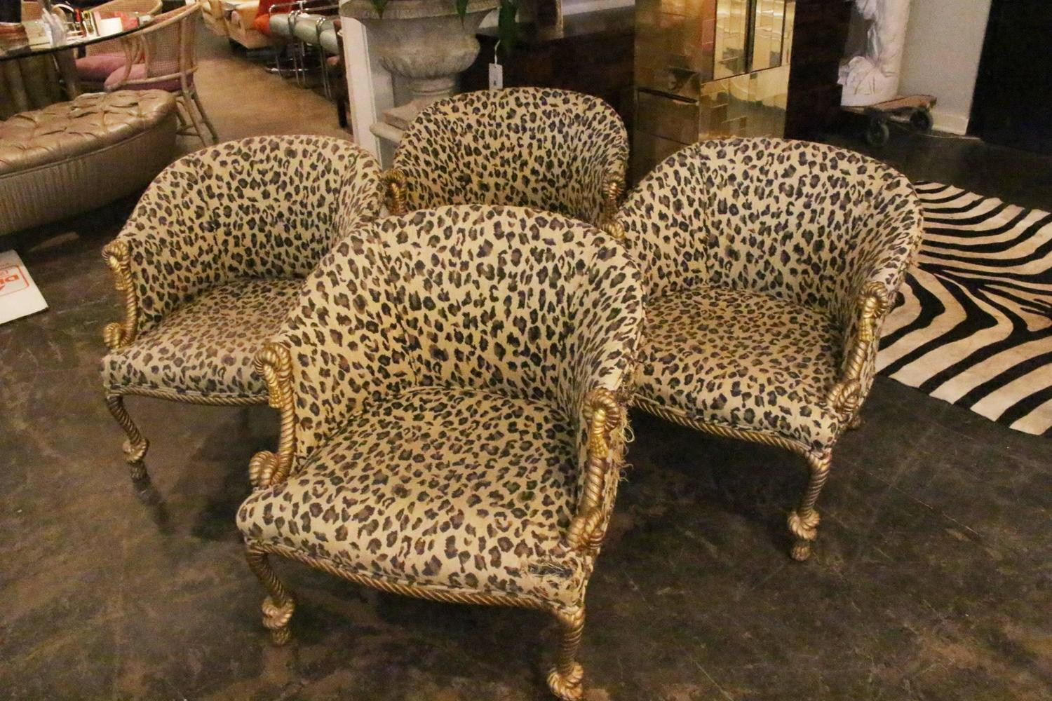 Pair Of Gilded Leopard Print Rope And Tassel Chairs At 1stdibs