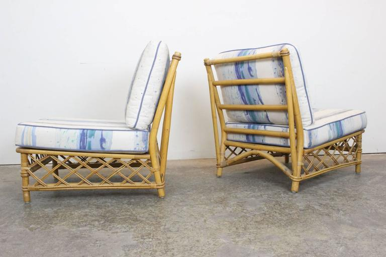 Pair of Rattan Lounge Slipper Chairs by Ficks Reed at 1stdibs