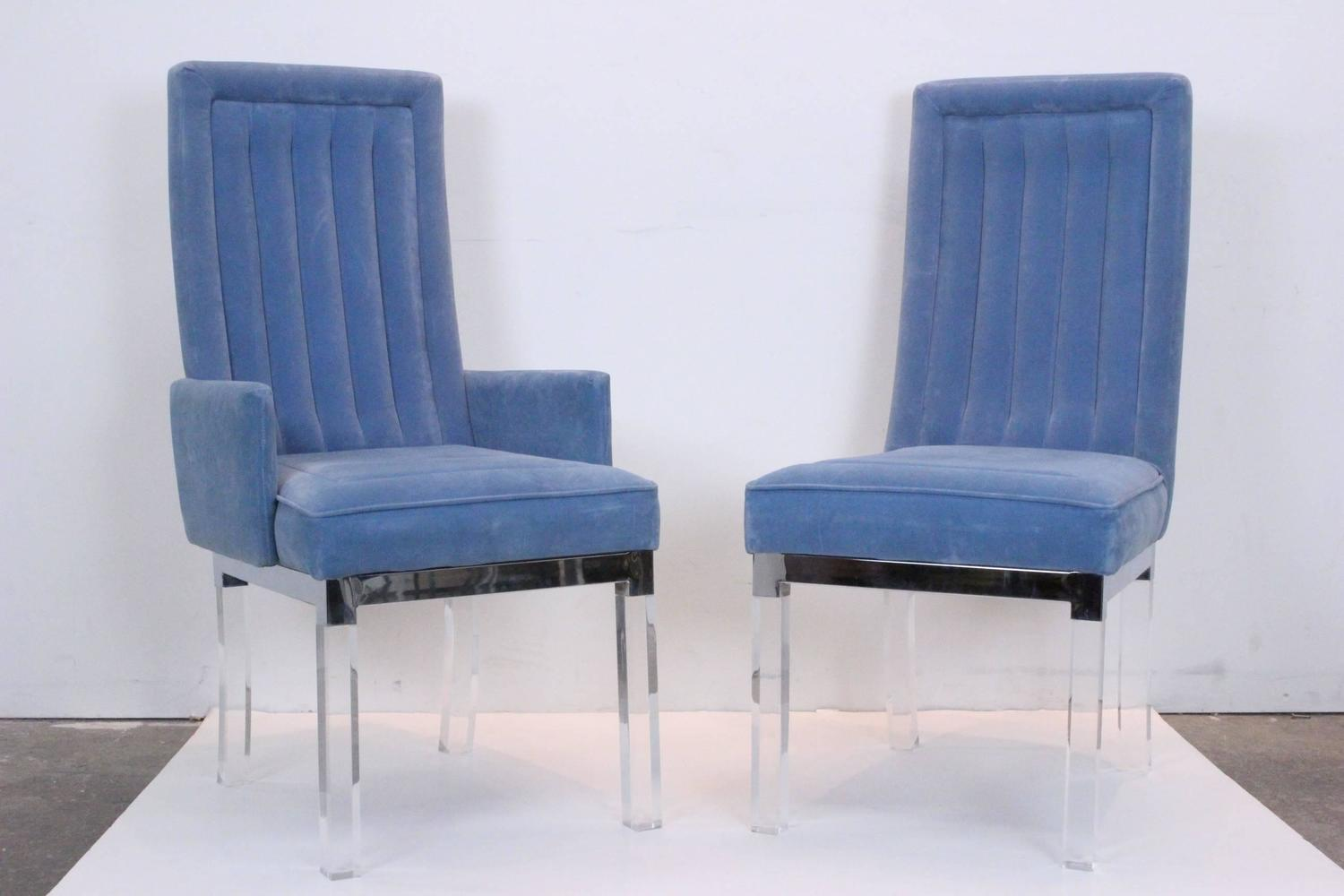 Set Of Ten Charles Hollis Jones Lucite Dining Chairs For