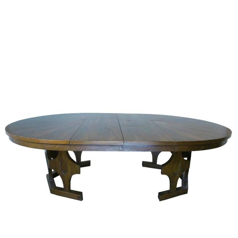 1960s mid century expandable round walnut dining table at