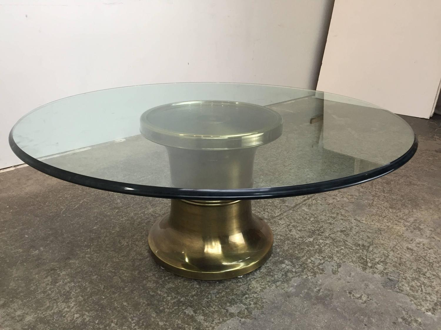 Brass Pedestal Coffee Table By Mastercraft At 1stdibs