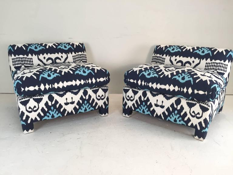 Attrayant Ikat Slipper Chairs In Quadrille In Excellent Condition For Sale In Dallas,  TX