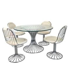 Mid-Century Modernist Dining Set with Sculpted Tubular Base