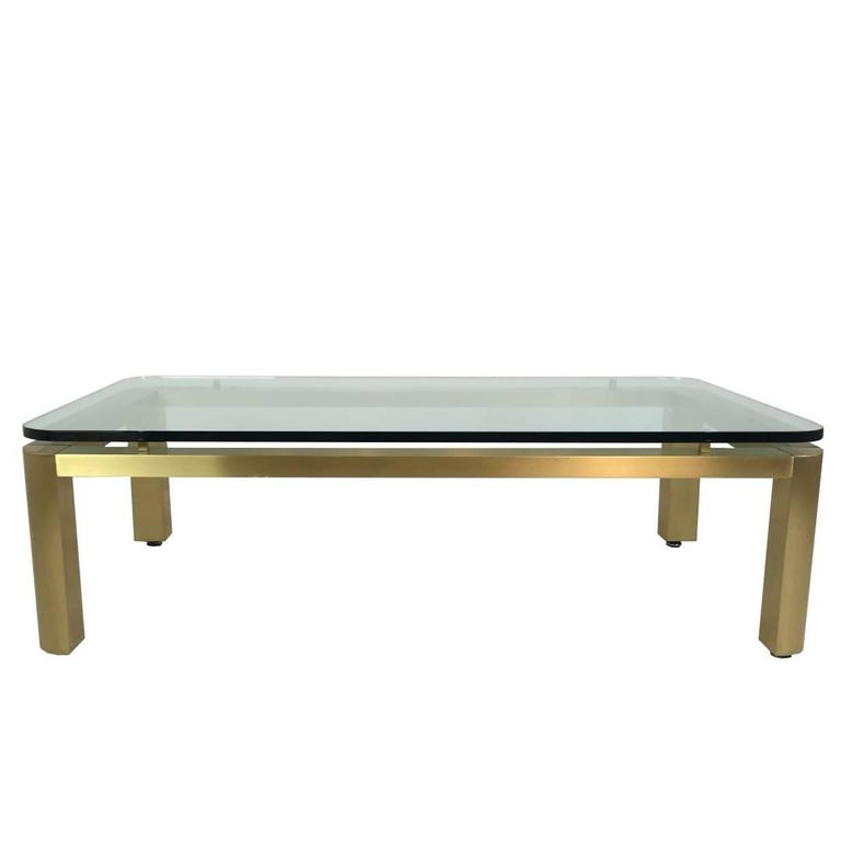 Stylish 1970s Brushed Brass Coffee Table with Round Corners For Sale