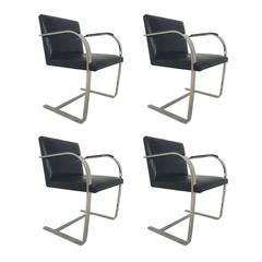 Four Brno Chairs with Sharkskin Arm Pads