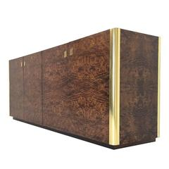 Handsome Burl Wood and Brass Credenza by Century Furniture