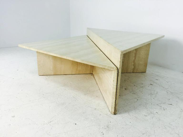 Travertine Marble Two Piece Two Tier Coffee Table 2